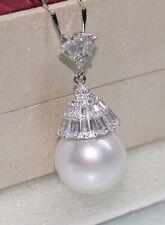 Very bigroundwhite14.5mm kasumipearlvery Shiny zircon pendant free chain