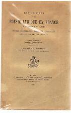 JEANROY - LES ORIGINES DE LA POESIE LYRIQUE EN FRANCE AU MOYEN-AGE-LIVRE ANCIEN