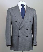 New $6500 Cesare Attolini Napoli Double Breasted Gray Suit Slim Size 38 (48 EU)