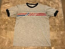 8b522796f Vintage Diesel 55 DSL Gray Striped Graphic Ringer T-Shirt Adult Size Large  Worn!