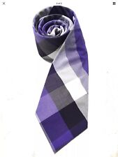 Mens Express Neck Tie Slim Skinny Cotton Purple Black White Narrow New Plaid