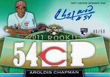 2011 TOPPS TRIPLE THREADS - AROLDIS CHAPMAN - GAME USED MEMORBILIA AUTO #40/50