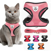 Reflective Cat Harness Lead Set Adjustable Pet Puppy Mesh Vest Jacket with Leash