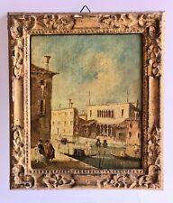 Tableau Huile sur Toile Ecole Vénitienne du XVIIIème Vue animée Canal Personnage
