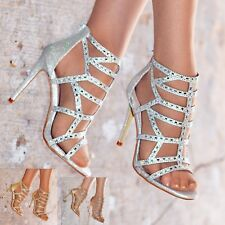 Ladies Diamante High Heel Sandals Shoes Caged Party Heels Wide Fit Strappy size