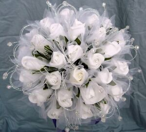 White Latex Foam Roses with Diamantes, Tulle & Crystals Brides Posy Bouquet