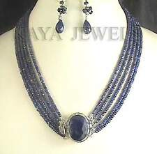 NATURAL BLUE SAPPHIRE 5 STRAND BEAD NECKLACE & EARRINGS WORLDWIDE SHIP