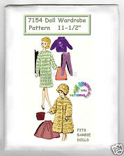 "knitted vintage fits Barbie Doll Wardrobe Doll Pattern 11.5""  mail order 7154"