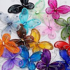 "24 Organza nylon wire butterfly butterflies wedding arts crafts decor 2"" big"