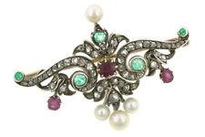 Victorian Look 925 Silver Brooch Pin 3.45ct Rose Cut Diamond Emerald Ruby Pearl