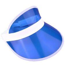 Unisex BLUE Sun Visor Poker Hat Golf Neon Stag Rave 1980s Dance Cap Headband