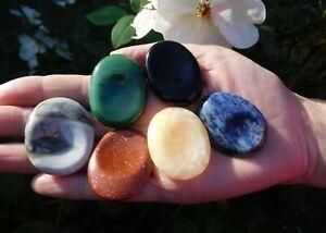 Kambala Crystal Indented Thumb Worry Stone Black Obsidian Carnelian Lapiz Etc