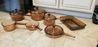VINTAGE CORNING PYREX VISION WARE AMBER GLASS COOKWARE 11 PIECE SET