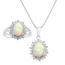 Princess Diana Inspired Halo Diamond & Opal Matching Pendant Necklace and Ring