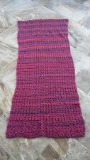 "New Handmade Chunky Knit 30"" x 66"" Scarf Wrap Shawl Purple Tones Thick Long Soft"