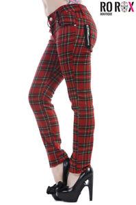 Women's Banned Tartan Trousers Plaid Check Pants Emo Punk Skinny Jeans