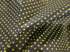 negro y amarillo Lunares impreso 100% algodón ( Satén Acabado) Tela 147cm Ancho