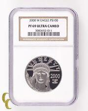 2000-w PLATINO Eagle P$100 1 oz. Prueba graduado pf-69 Ultra Camafeo Por NGC