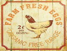 "TIN SIGN ""Farm Fresh Organic Eggs"" Farm  Art Deco Garage Wall Decor"