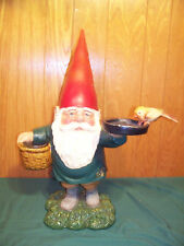 "Very Rare 23"" Rien David The Garden Gnome With Basket Planter & Bird Feeder"