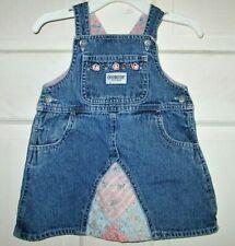 OSHKOSH baby denim PATCHWORK jean jumper 12 months overall dress EUC