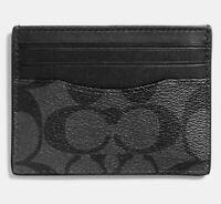 COACH Charcoal Black Signature Men Compact Slim ID Credit Card Case Wallet 58110