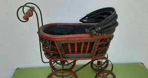 Vintage antique Victorian baby doll carriage stroller buggy wicker steel
