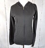 Womens OLD MILL S Full Zip Hoodie Black Jacket Knit Hooded Sweatshirt Small