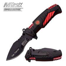 Spring-Assisted Folding Pocket Knife Mtech Black Red Firefighter Tactical Edc