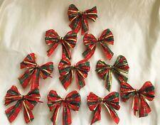 """10 X rosso/verde scuro 5"""" Tartan Cravatta con bordo d'oro in fiocchi fiocchi, regali, ALBERO NATALE"""