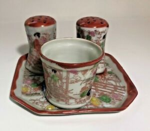 Vintage Geisha Girl Pattern Japan Salt & Pepper Shakers, Tray & Toothpick Holder
