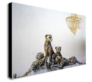 BANKSY Cheetah - Leopard - Gold - Canvas Wall Art Framed Print - Various Sizes