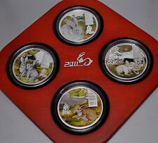 Cook Islands 2011 4x2$ Lunar The Year of the Rabbit 4 x20g Silver Proof Coin Set