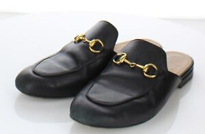 A3 $695 Women's Sz 36 M Gucci Princetown Leather Bit Loafer Mule In Black