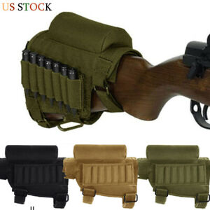 Tactical Outdoor Rifle Buttstock Cheek Rest Shell Mag Ammo Pouch Pocket Holder