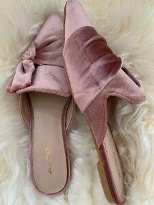 ALDO Unalillan Women's 10 Slip On Slippers Flat Mules Light Pink Velvet Bow $40