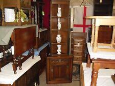 Very Clean Oak Old Charm Narrow Corner Display Shelves Cabinet Cupboard