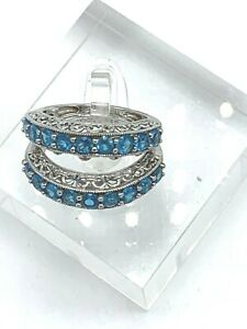 2 Sterling Silver Neon Apatite Band Stackable Rings Size 7
