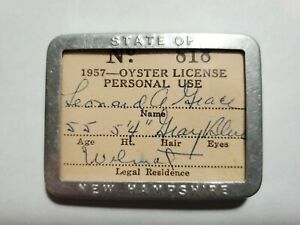 1957 Resident New Hampshire Personal Use Oyster License NO Reserve