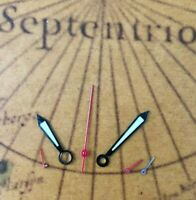 NOS Style Zeigerset Silber/Rot Chronograph Retro für ETA Valjoux 7750