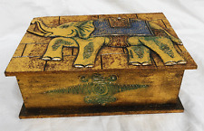 Relief Carved Elephant Design Gilded Wooden Box  - Medium - BNWT