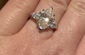 8x14mm 4CT Marquise Cut Diamond 3 Stone Solitaire Ring Platinum Finish Sz 7,8,9