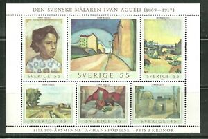 SWEDEN 821 MNH SOUVENIR SHEET PAINTINGS BY IVAN AGUELI