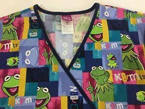 Kermit The Frog Disney Muppets Scrub Top Womens Small Go Green V Neck Nurse Vet
