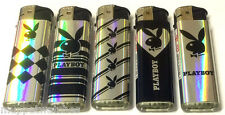 5 x PLAYBOY BUNNY BLACK SILVER CLASSY LIGHTERS Refillable Gas CIGARETTE LIGHTER