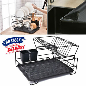 2 Tier Dish Rack Plastic Tray Kitchen Dryer Holder Cutlery Drying Drainer ACB#