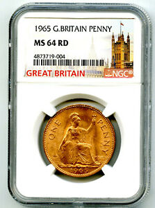 1965 GREAT BRITAIN BRITANNIA LARGE COPPER PENNY NGC MS64 RD LOW MINTAGE