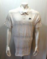 Nike Sportswear Sleeve White Beige Blue Striped Men's Gold Polo Shirt Size XL