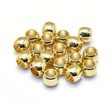 10pcs Gold Plated Brass Column Metal Beads Smooth Large Hole Loose Spacers 6x5mm