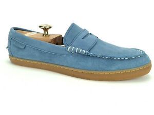 Cole Haan Pinch Weekender Penny Loafer Perforated Suede Light Blue Men Sz 11.5 M